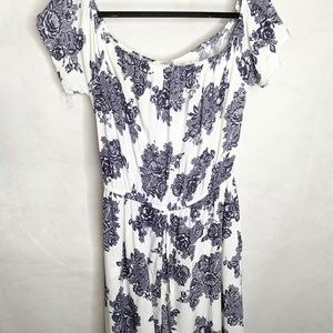 White & Blue High Low Maxi Romper L Floral